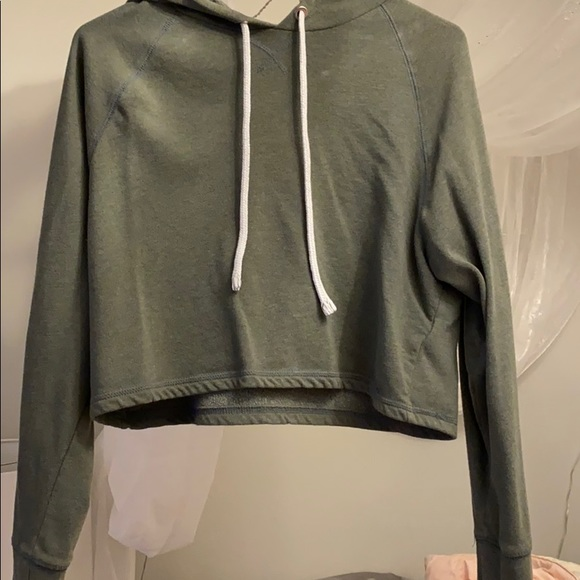 Divided Tops Hm Cropped Green Hoodie Poshmark